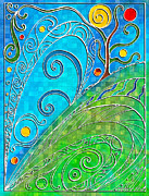 Turquoise Stained Glass Prints - Summer Solstice Print by Shawna  Rowe