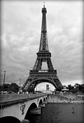Black And White Paris Posters - Summer Storm over the Eiffel Tower Poster by Carol Groenen