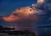 New England Lighthouse Digital Art Prints - Summer storm squall passes Fort Pickering Lighthouse Print by Jeff Folger