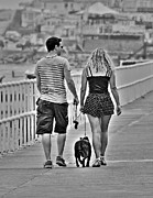 Dog Walking Prints - Summer stroll along the promenade Print by Paul Bettison