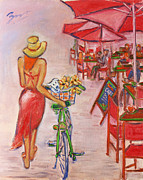 Xueling Zou - Summer Stroll by a Cafe