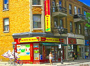 Cheese Shop Prints - Summer Stroll Sucrerie Du Soleil Candy Biscuiterie Chocolate Shop Montreal City Scene Carole Spandau Print by Carole Spandau