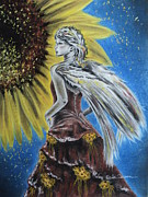 Charcoal Pastels Prints - Summer Sunflower Angel Print by Carla Carson