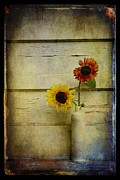 Old Door Digital Art Prints - Summer Sunflowers Print by Sari Sauls