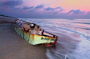 Pea Island Framed Prints - Summer Sunrise Shipwreck on Outer Banks I Framed Print by Dan Carmichael