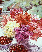 Vase Of Flowers Posters - Summer Sweet Cherries Poster by  David Lloyd Glover