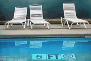 Pool Photography Prints - Summer Swimming Pool - Retro Summer Vacation Days - Swimming Pool Water and Chairs Print by Kathy Fornal
