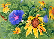 Morning Glories Paintings - Summer Tango by Rhonda Leonard
