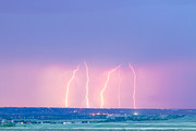 Lightning Gifts Posters - Summer Thunderstorm Lightning Strikes Poster by James Bo Insogna