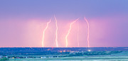 Lightning Gifts Posters - Summer Thunderstorm Lightning Strikes Panorama Poster by James Bo Insogna