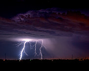 Telephone Pole Prints - Summer Thunderstorm San Joaquin Valley CA Print by Troy Montemayor