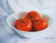 Tomatoes Pastels Prints - Summer Tomatoes Print by Marna Edwards Flavell