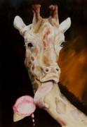 Giraffes Paintings - Summer Treat by Diane Kraudelt