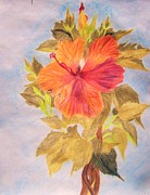 Red Leaves Drawings - Summer Tropics by Janice W Deetscreek