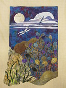 Fabric Collage Tapestries Textiles Posters - Summer Twilight Poster by Lynda K Boardman