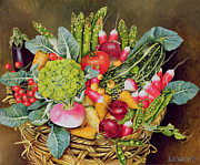 Red Leaves Painting Posters - Summer Vegetables Poster by EB Watts