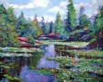 Featured Paintings - Summer Waterlilies by David Lloyd Glover