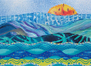Sunset Greeting Cards Tapestries - Textiles Prints - Summer Waves Print by Susan Rienzo