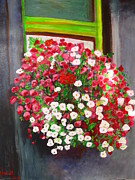 Boxes Paintings - Summer Window Basket by Sinead Lamont