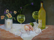 Wineglasses Paintings - Summer Wine and Pansies by Kathleen Hoekstra