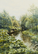 Danish Framed Prints - Summerday at the Stream Framed Print by Peder Monsted