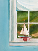 Sailboat Ocean Painting Originals - Summers At The Beach by Michelle Wiarda