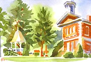 Blue And Green Paintings - Summers Morning on the Courthouse Square by Kip DeVore