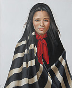 Shawl Paintings - Summers That Have Been by K Henderson by K Henderson