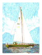 Douglass Drawings - Summertime and Tartan 34 Sailboat by Jack Pumphrey