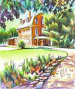 Green Drawings Originals - Summertime at Ursuline No C101 by Kip DeVore