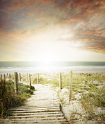 Beach Photograph Photos - Summertime boardwalk by Les Cunliffe