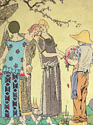 Dresses Framed Prints - Summertime dress designs by Paul Poiret Framed Print by French School