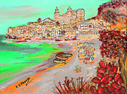 Mediterranean Landscape Mixed Media Posters - Summertime in Cefalu Poster by Loredana Messina