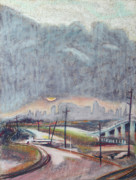 Train Tracks Drawings - Sun and Clouds over San Francisco with West Oakland OverRamp and Tracks by Asha Carolyn Young