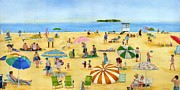 Umbrella Paintings - Sun And Fun At Silver Sands Beach by Vicky Watkins