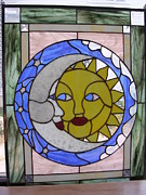 Sun Glass Art - Sun and Moon by Karin Thue