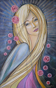 Women Paintings - Sun And Roses 081008 by Selena Boron