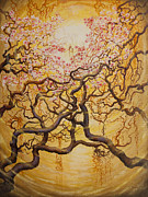 Sakura Paintings - Sun and sakura by Vrindavan Das