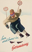 Skiing Poster Paintings - Sun and Snow in Germany by Nix