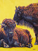 Bison Prints - Sun Bathers Print by Patricia A Griffin