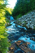 Pacific Northwest Rivers Prints - Sun Beam Falls Print by Jeff  Swan