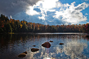 Fir Trees Photos - Sun Breaking Through over Cary Lake by David Patterson