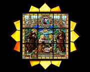 Catholic Glass Art Prints - Sun Burst Stained Glass Print by Frank Welder