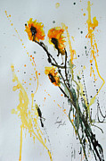 Ismeta Framed Prints - Sun-Childs- Flower Painting Framed Print by Ismeta Gruenwald