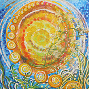 Appleton Mixed Media Framed Prints - Sun Circles Framed Print by Melanie Rae Zero
