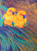 Yellow Beak Paintings - Sun Conures by Margaret Saheed