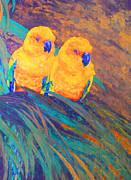 Sun Conures Print by Margaret Saheed