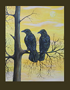 Crows Paintings - Sun Crows by Christine StPierre