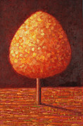 Earthy Paintings - Sun Drenched Tree by Peter Davidson