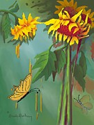 Yellow And Orange Sunflower Prints - Sun Flowers and Butterflies Print by Dessie Durham